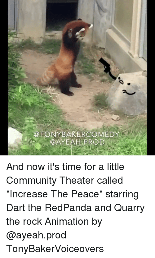 "Community, Memes, and The Rock: @TONYBAKERCOMEDY  @AYEAH.PROD.. And now it's time for a little Community Theater called ""Increase The Peace"" starring Dart the RedPanda and Quarry the rock Animation by @ayeah.prod TonyBakerVoiceovers"