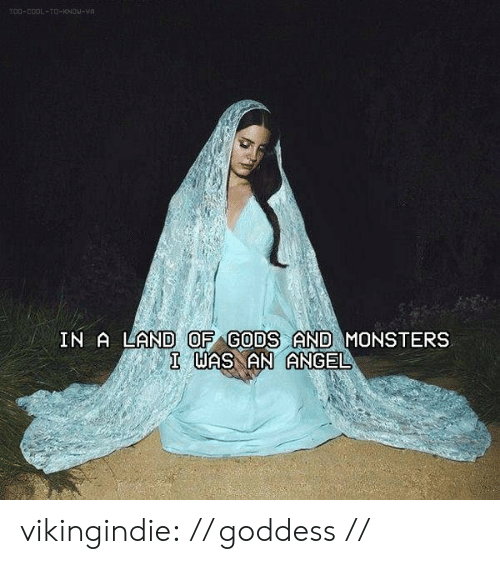 goddess: TOO-COOL-TO-KNOW-YA  IN A LAND OF GODS AND MONSTERS  I WAS AN ANGEL vikingindie:  // goddess //