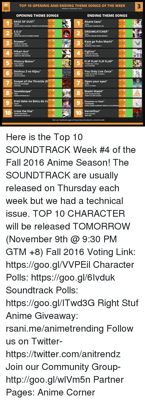 "Animals, Community, and Facebook: TOP 10 OPENING AND ENDING THEME SONGS OF THE WEEK  ANIME  Released on November  & 2016  OPENING THEME SONGS  ENDING THEME SONGS  Akane Sasu  RAGE OF DUST'  SPYAIR  Almer  KIDOU SENSHI GUNDAM TEKKETSUNO  NATSUME YUUUINCHOUGO  S.O.S""  DREAMCATCHER  WEAVER  UDONNOKUNINO KONIROKEMARI  MAHOU SHOUJOIKUSEIKEIKAKU  Kaze ga Fuku Machi  Answer""  BUMPOF CHICKEN  Luck Life  SANGATSUNO LION  BUNGOUSTRAYDOGS2  Hikari Are""  Fighter""  BURNOUT Syndrome  BUMP OF CHICKEN  HAIKYUU 3RD SEASON  SANGATSU NO LION  History Maker""  FLIP FLAP FLIP FLAP""  Dean Fujioka  TO MASS feat. Chima  YURI ON ICE  FLIP FLAPPERS  6 Seishuu 3 no Nijou  Kanako Itou  You Only Live Once""  YURIM on ICE feat. w.hatano  OCCULTICNINE  YURIMONICE  Gospel of the Throttle (R  Open your eyes""  TIMidnight  DRIFTERS  OCCULTICNINE  Soundscape""  Mashi Mashi""  HIBIXENEUPHONI  UM 2  HAIKYUUNI 3RD SEASON  Kimi dake no Boku de Iru  Shounen no Hate""  GACKT  KIDOUSENSHIGUNDAMETEKKETSUNO  Vermillion""  cross the line""  10  10  AKINO with bless4  Maon Kurosaki  SHUUMATSUNO D2ETTA  DRIFTERS  Visit our facebook page at http://www.facebook.com/anitrendz Here is the Top 10 SOUNDTRACK Week #4 of the Fall 2016 Anime Season! The SOUNDTRACK are usually released on Thursday each week but we had a technical issue. TOP 10 CHARACTER will be released TOMORROW (November 9th @ 9:30 PM GTM +8)   Fall 2016 Voting Link: https://goo.gl/VVPEil Character Polls: https://goo.gl/6Ivduk Soundtrack Polls: https://goo.gl/ITwd3G  Right Stuf Anime Giveaway: rsani.me/animetrending Follow us on Twitter- https://twitter.com/anitrendz Join our Community Group- http://goo.gl/wlVm5n  Partner Pages: Anime Corner"