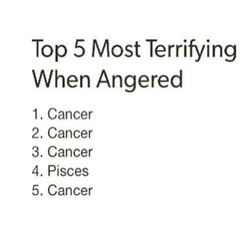 Cancer, Pisces, and Top: Top 5 Most Terrifying  When Angered  1. Cancer  2. Cancer  3. Cancer  4. Pisces  5. Cancer