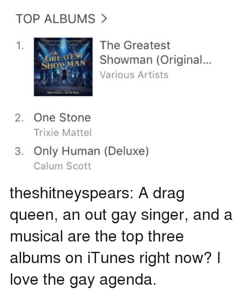 mattel: TOP ALBUMS  The Greatest  Showman (Original...  Various Artists  1.  REAT  SHOWMAN  2. One Stone  Trixie Mattel  3. Only Human (Deluxe)  Calum Scott theshitneyspears:  A drag queen, an out gay singer, and a musical are the top three albums on iTunes right now? I love the gay agenda.