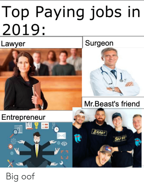 Entrepreneur: Top Paying jobs in  2019:  Surgeon  Lawyer  Mr.Beast's friend  Entrepreneur  EEAST  SE S1  4i> Big oof