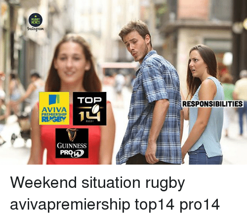 weekenders: TOP  RESPONSIBILITIES  AVIVA  PREMIERSHIP  RUGBY  RUGET  GUINNESS Weekend situation rugby avivapremiership top14 pro14