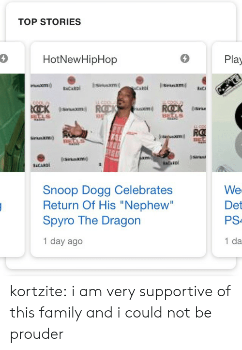 "hotnewhiphop: TOP STORIES  4  HotNewHipHop  Play  usxm  XIm  RO  sitaxmo  Snoop Dogg Celebrates  Return Of His ""Nephew""  Spyro The Dragon  1 day ago  We  Det  PS  1 da kortzite:  i am very supportive of this family and i could not be prouder"