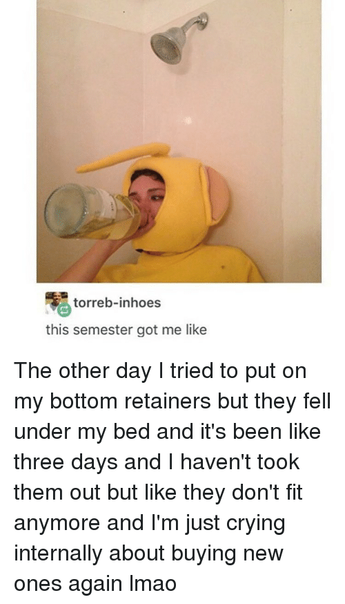 Crying, Lmao, and Girl Memes: torreb-inhoes  this semester got me like The other day I tried to put on my bottom retainers but they fell under my bed and it's been like three days and I haven't took them out but like they don't fit anymore and I'm just crying internally about buying new ones again lmao