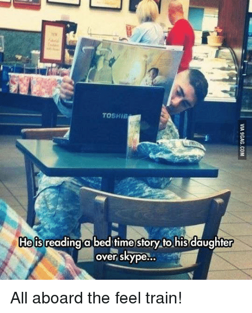 All Aboard The Feels Train: TOSHIB  He is  reading a bed time story to his daughter  over skype... All aboard the feel train!