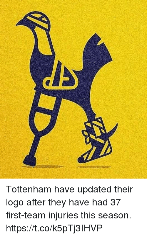 Memes, 🤖, and Logo: Tottenham have updated their logo after they have had 37 first-team injuries this season. https://t.co/k5pTj3IHVP