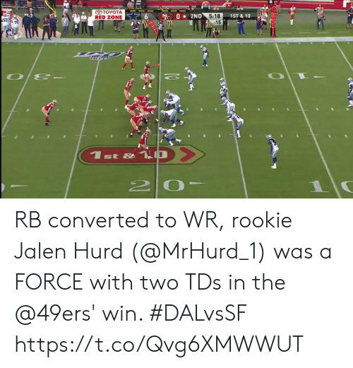 Toyota: TOYOTA  RED ZONE  02ND  5:18  :15  1ST&10  57  st &  2 0 RB converted to WR, rookie Jalen Hurd (@MrHurd_1) was a FORCE with two TDs in the @49ers' win. #DALvsSF https://t.co/Qvg6XMWWUT