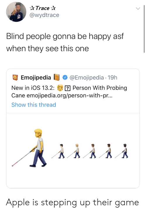 asf: Trace  @wydtrace  Blind people gonna be happy asf  when they see this one  Emojipedia  @Emojipedia 19h  Person With Probing  Cane emojipedia.org/person-with-pr...  New in iOS 13.2:  Show this thread Apple is stepping up their game