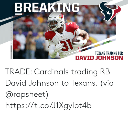 David: TRADE: Cardinals trading RB David Johnson to Texans. (via @rapsheet) https://t.co/J1Xgylpt4b