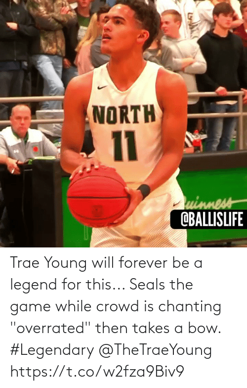 "Forever: Trae Young will forever be a legend for this... Seals the game while crowd is chanting ""overrated"" then takes a bow. #Legendary @TheTraeYoung https://t.co/w2fza9Biv9"