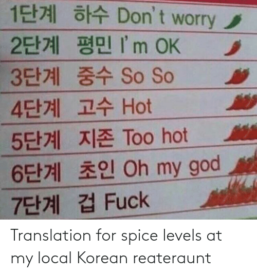 local: Translation for spice levels at my local Korean reateraunt