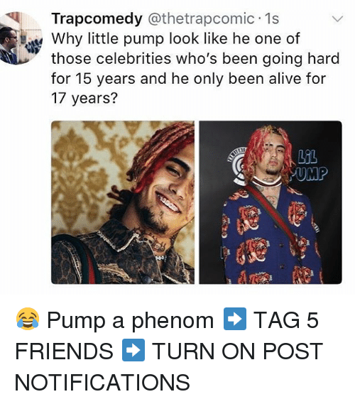 going hard: Trapcomedy @thetrapcomic 1s  Why little pump look like he one of  those celebrities who's been going hard  for 15 years and he only been alive for  17 years?  UMP 😂 Pump a phenom ➡️ TAG 5 FRIENDS ➡️ TURN ON POST NOTIFICATIONS