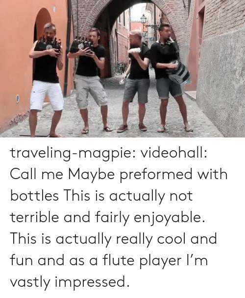 Call Me Maybe, Target, and Tumblr: traveling-magpie:  videohall:  Call me Maybe preformed with bottles   This is actually not terrible and fairly enjoyable.    This is actually really cool and fun and as a flute player I'm vastly impressed.