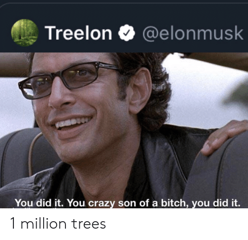 you did it: Treelon  @elonmusk  You did it. You crazy son of a bitch, you did it. 1 million trees