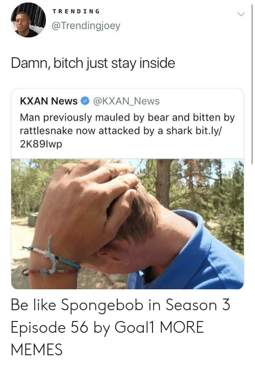 Be Like, Bitch, and Dank: TRENDING  @Trendingjoey  Damn, bitch just stay inside  KXAN News @KXAN_News  Man previously mauled by bear and bitten by  rattlesnake now attacked by a shark bit.ly/  2K89lwp Be like Spongebob in Season 3 Episode 56 by Goal1 MORE MEMES