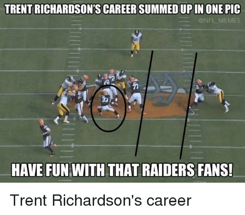 Football, Meme, and Memes: TRENT RICHARDSON'S CAREERSUMMEDUPIN ONE PIC  @NFL MEMES  HAVE FUN WITH THAT RAIDERS FANS! Trent Richardson's career