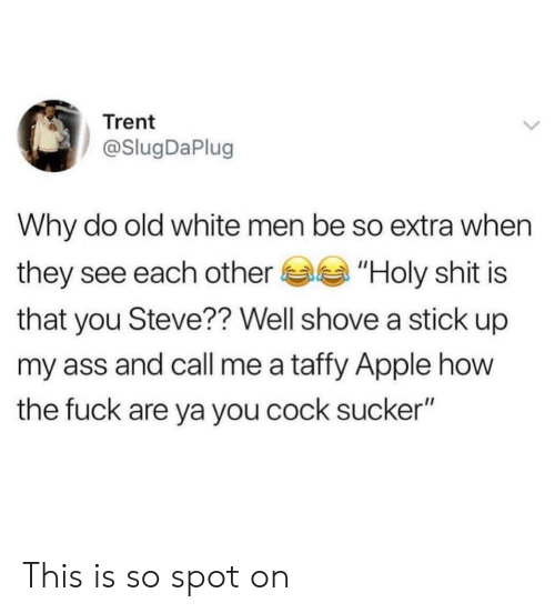 """Apple, Ass, and Shit: Trent  @SlugDaPlug  Why do old white men be so extra when  they see each other""""Holy shit is  that you Steve?? Well shove a stick up  my ass and call me a taffy Apple how  the fuck are ya you cock sucker"""" This is so spot on"""