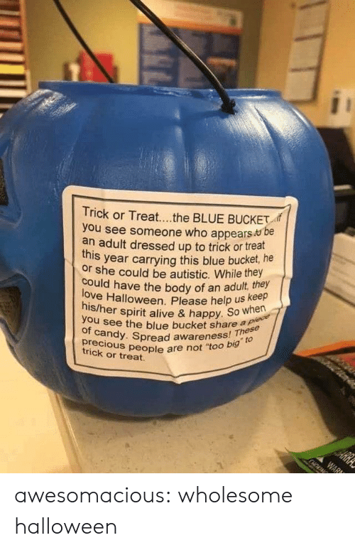 "autistic: Trick or Treat...the BLUE BUCKET  you see someone who appears be  an adult dressed up to trick or treat  year carrying this blue bucket, he  this  or she could be autistic. While they  love Halloween. Please help us keep  his/her spirit alive & happy. So when  could have the body of an adult, they  you see the blue bucket share a plece  of candy. Spread awareness! These  precious people are not ""too big to  HE  trick or treat.  ARRA  WAR awesomacious:  wholesome halloween"
