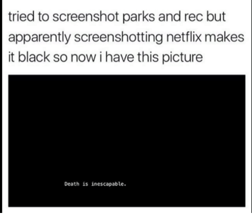 parks and rec: tried to screenshot parks and rec but  apparently screenshotting netflix makes  it black so now i have this picture  Death is inescapable.