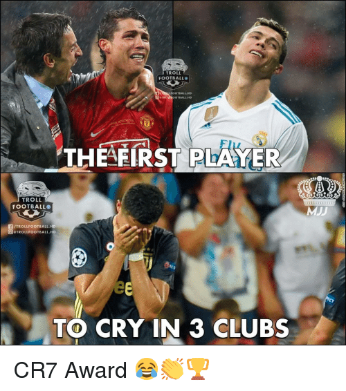 Football, Memes, and Troll: TROLL  FOOTBALL  LFOOTBALL HD  OTBALL.HD  THEAFIRST PLARYER  TROLL  FOOTBALLO  /TROLLFOOTBALL.HD  @)@TROLLFOOTBALL.HD  TO CRY IN 3 CLUBS CR7 Award 😂👏🏆