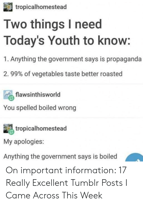 vegetables: tropicalhomestead  Two things I need  Today's Youth to know:  1. Anything the government says is propaganda  . 99% of vegetables taste better roasted  flawsinthisworld  You spelled boiled wrong  tropicalhomestead  My apologies:  Anything the government says is boiled On important information: 17 Really Excellent Tumblr Posts I Came Across This Week