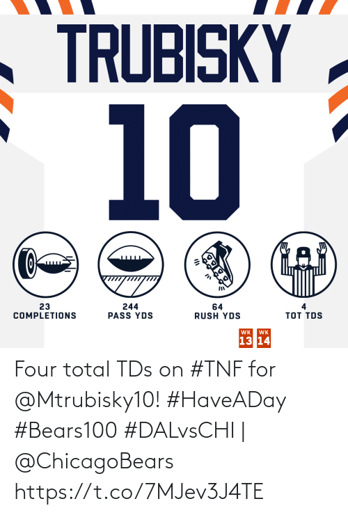 chicagobears: TRUBISKY  10  23  COMPLETIONS  244  PASS YDS  64  RUSH YDS  тоT TOS  WK  WK  13 14 Four total TDs on #TNF for @Mtrubisky10! #HaveADay #Bears100  #DALvsCHI | @ChicagoBears https://t.co/7MJev3J4TE