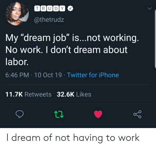 "Trudy: TRUDY  @thetrudz  My ""dream job"" is...not working.  No work. I don't dream about  labor.  6:46 PM 10 Oct 19 Twitter for iPhone  11.7K Retweets 32.6K Likes I dream of not having to work"