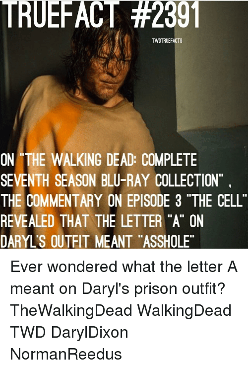 "episode 3: TRUEFACT #2301  TWDTRUEFACTS  ON THE WALKING DEAD: COMPLETE  SEVENTH SEASON BLU-RAY COLLECTION  THE COMMENTARY ON EPISODE 3 ""THE CELL  REVEALED THAT THE LETTER ""A"" ON  DARYL'S OUTEIT MEANT ""ASSHOLE Ever wondered what the letter A meant on Daryl's prison outfit? TheWalkingDead WalkingDead TWD DarylDixon NormanReedus"