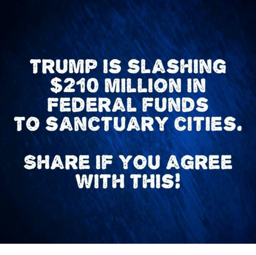 Sanctuary Cities: TRUMP IS SLASHING  $210 MILLION IN  FEDERAL FUNDS  TO SANCTUARY CITIES  SHARE IF YOU AGREE  WITH THIS!