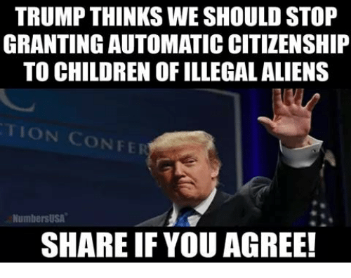 Share If You Agree: TRUMP THINKS WE SHOULD STOP  GRANTING AUTOMATIC CITIZENSHIP  TO CHILDREN OF ILLEGAL ALIENS  TION CONFE  NumbersUSA  SHARE IF YOU AGREE!