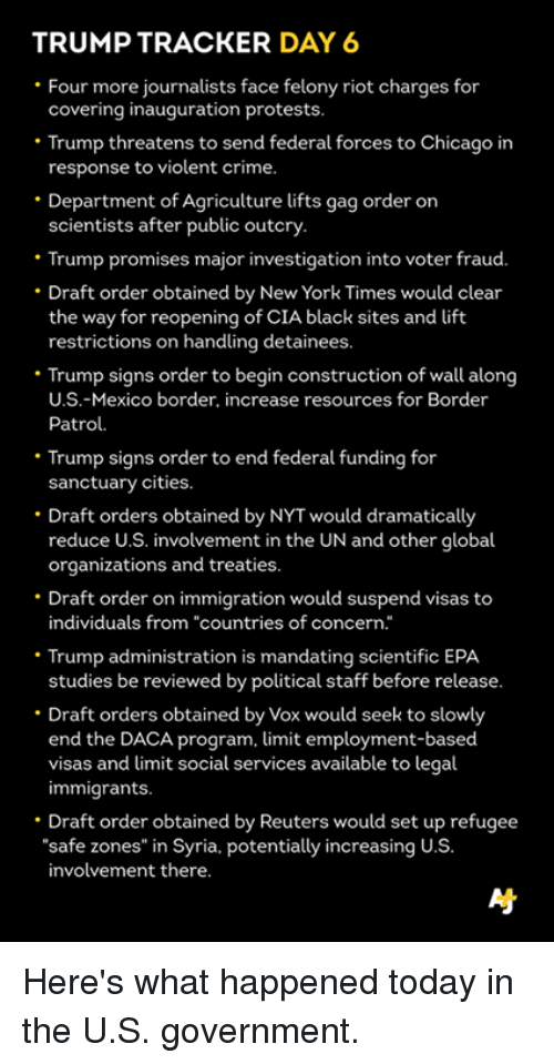 "Memes, Riot, and New York Times: TRUMP TRACKER DAY 6  Four more journalists face felony riot charges for  covering inauguration protests  Trump threatens to send federal forces to Chicago in  response to violent crime.  Department of Agriculture lifts gag order on  scientists after public outcry  Trump promises major investigation into voter fraud.  Draft order obtained by New York Times would clear  the way for reopening of CIA black sites and lift  restrictions on handling detainees  Trump signs order to begin construction of wall along  U.S.-Mexico border, increase resources for Border  Patrol.  Trump signs order to end federal funding for  sanctuary cities.  Draft orders obtained by NYTwould dramatically  reduce U.S. involvement in the UN and other global  organizations and treaties.  Draft order on immigration would suspend visas to  individuals from ""countries of concern  Trump administration is mandating scientific EPA  studies be reviewed by political staff before release.  Draft orders obtained by Vox would seek to slowly  end the DACA program, limit employment-based  visas and limit social services available to legal  immigrants.  Draft order obtained by Reuters would set up refugee  ""safe zones"" in Syria. potentially increasing U.S  involvement there. Here's what happened today in the U.S. government."