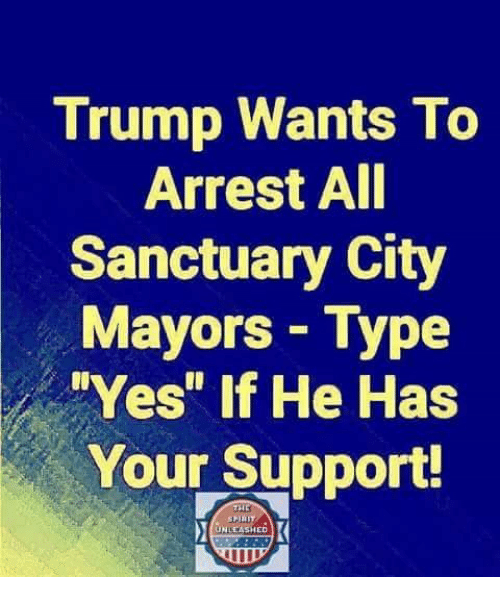 """unleashed: Trump Wants To  Arrest AI  Sanctuary City  Mayors Type  Yes"""" if He Has  Your Support!  UNLEASHED"""