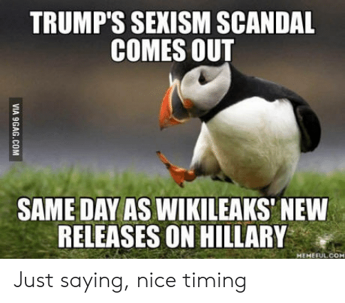 Scandal, Nice, and Wikileaks: TRUMP'S SEXISM SCANDAL  COMES OUT  SAME DAY AS WIKILEAKS' NEW  RELEASES ON HILLARY  MEMEFULCOM Just saying, nice timing