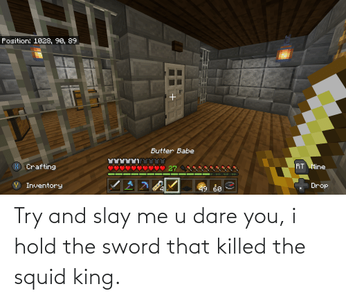 the sword: Try and slay me u dare you, i hold the sword that killed the squid king.