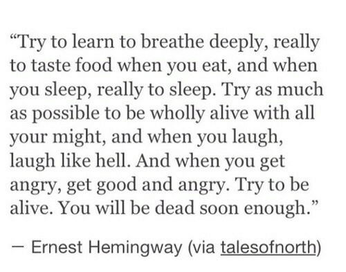 "to-be-alive: ""Try to learn to breathe deeply, really  to taste food when you eat, and when  you sleep, really to sleep. Try as much  as possible to be wholly alive with all  your might, and when you laugh,  laugh like hell. And when you get  angry, get good and angry. Try to be  alive. You will be dead soon enough.""  Ernest Hemingway (via talesofnorth)"