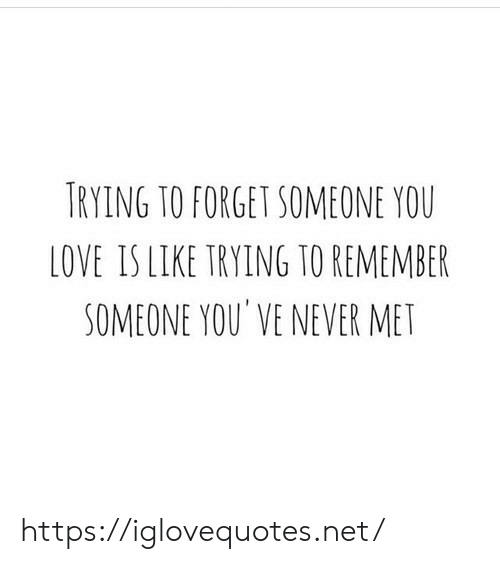 Love, Never, and Net: TRYING TO FORGET SOMEONE YOU  LOVE IS LIKE TRYING TO REMEMBER  SOMEONE YOU' VE NEVER MET https://iglovequotes.net/