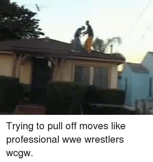 wwe wrestlers: Trying to pull off moves like professional wwe wrestlers wcgw.