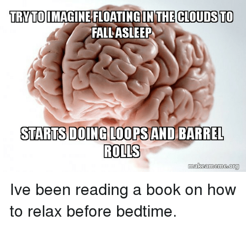 loops: TRYTOIMAGINE FLOATING IN THE CLOUDS TO  FALL ASLEEP  STARTSDOING LOOPS AND BARREL  ROLLS  makeameme.org Ive been reading a book on how to relax before bedtime.