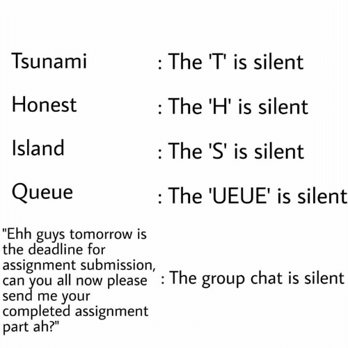 "Group Chat, Memes, and Chat: Tsunami  The T' is silent  Honest  :The 'H' is silent  Island  The 'S' is silent  Queue  The 'UEUE' is silent  ""Ehh guys tomorrow is  the deadline for  assignment submission, . The group chat is silent  can you all now please  send me your  completed assignment  part ah?"""