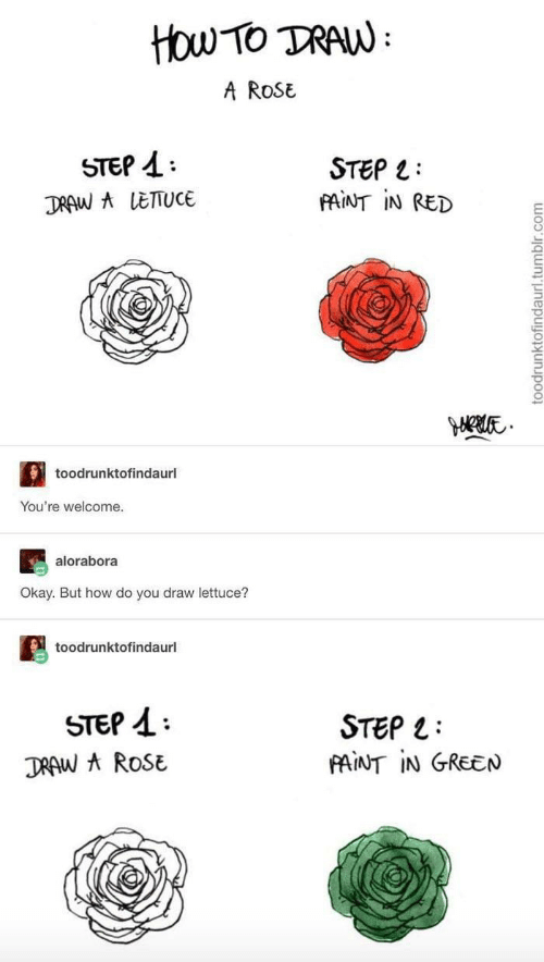 tan: ttou Tο TAN:  A RoSE  STEP  STEP L  FAINT IN RED  DRAW A LETTUCE  toodrunktofindaurl  You're welcome.  alorabora  Okay. But how do you draw lettuce?  toodrunktofindaurl  STEP  STEP  FAINT IN GREEN  DRAW A ROSE  toodrunktofindaurl.tumblr.com