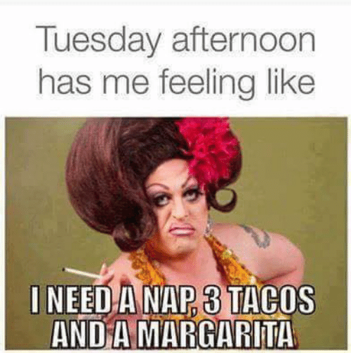 Memes, 🤖, and Margarita: Tuesday afternoon  has me feeling like  INEED A NAP 3 TACOS  AND A MARGARITA