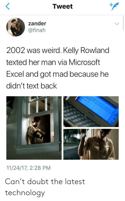 Kelly Rowland: Tweet  1  zander  @finah  2002 was weird. Kelly Rowland  texted her man via Microsoft  Excel and got mad because he  didn't text back  11/24/17, 2:28 PM Can't doubt the latest technology