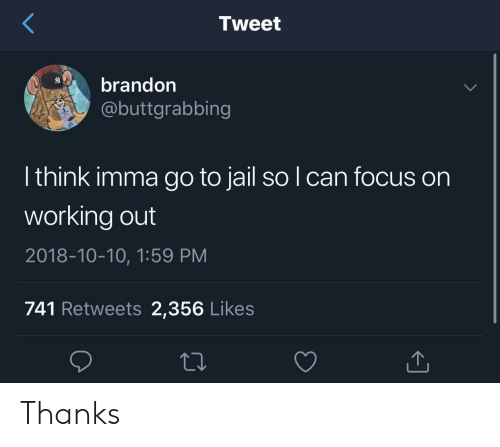 Jail, Working Out, and Focus: Tweet  brandon  @buttgrabbing  l think imma go to jail so l can focus on  working out  2018-10-10, 1:59 PM  741 Retweets 2,356 Likes Thanks