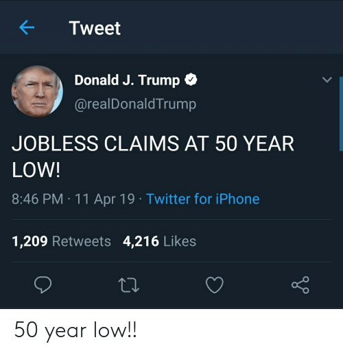 Iphone, Twitter, and Trump: Tweet  Donald J. Trump *  @realDonaldTrump  JOBLESS CLAIMS AT 50 YEAR  LOW!  8:46 PM 11 Apr 19 Twitter for iPhone  1,209 Retweets 4,216 Likes 50 year low!!