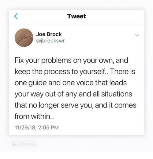 Brock, Voice, and Joe: Tweet  Joe Brock  @jbrockswr  Fix your problems on your own, and  keep the process to yourself..There is  one guide and one voice that leads  your way out of any and all situations  that no longer serve you, and it comes  from within.  11/29/18, 2:05 PM