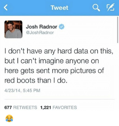 Josh Radnor: Tweet  Josh Radnor  @Josh Radnor  I don't have any hard data on this,  but I can't imagine anyone on  here gets sent more pictures of  red boots than I do.  4/23/14, 5:45 PM  677  RETWEETS 1,221  FAVORITES 😂