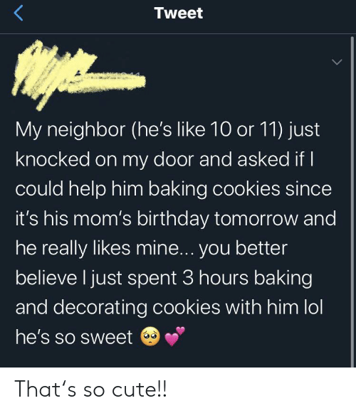 Knocked: Tweet  My neighbor (he's like 10 or 11) just  knocked on my door and asked if I  could help him baking cookies since  it's his mom's birthday tomorrow and  he really likes mine... you better  believe I just spent 3 hours baking  and decorating cookies with him lol  he's so sweet That's so cute!!