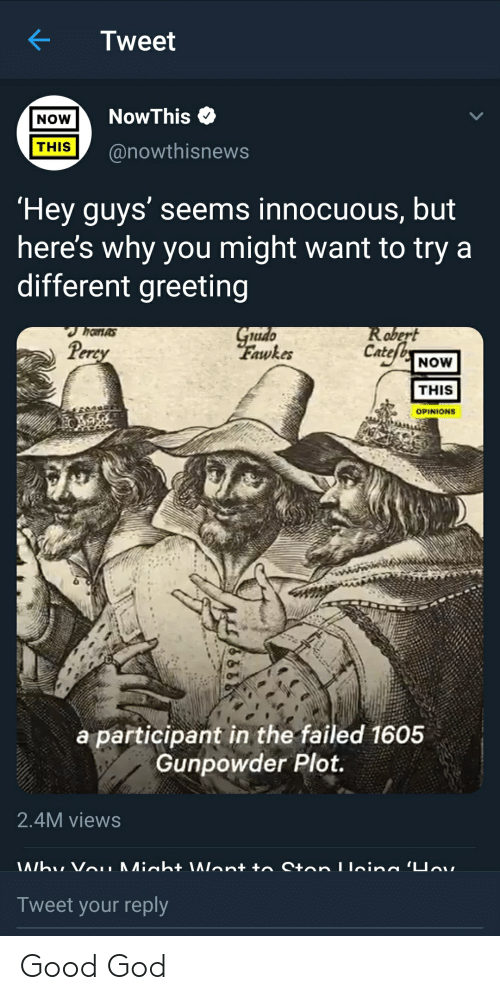 Miah: Tweet  NowThis  NOW  THIS  @nowthisnews  Hey guys' seems innocuous, but  here's why you might want to try a  different greeting  Grado  Fawkes  Robert  Cate  hanas  Percy  NOW  THIS  OPINIONS  a participant in the failed 1605  Gunpowder Plot.  2.4M views  Whu Vou Miah \Wont to Ston Lleina 'Uav.  Tweet your reply Good God