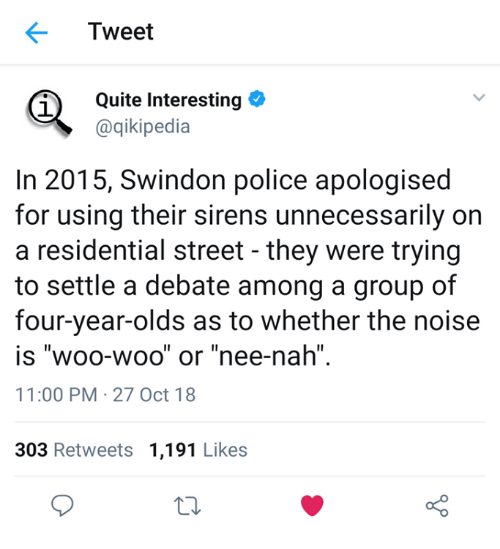 """Police, Quite, and Debate: Tweet  Quite Interesting  @qikipedia  1  In 2015, Swindon police apologised  for using their sirens unnecessarily on  a residential street - they were trying  to settle a debate among a group of  four-year-olds as to whether the noise  IS WOO-WOO or nee-nah""""  11:00 PM 27 Oct 18  Il  Il  1I  303 Retweets 1,191 Likes  o D"""